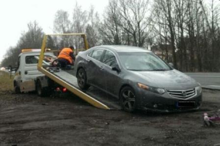 """Lodzės policijos nuotr./Sulaikytas girtas lietuvis su vogta """"Honda Accord"""""""