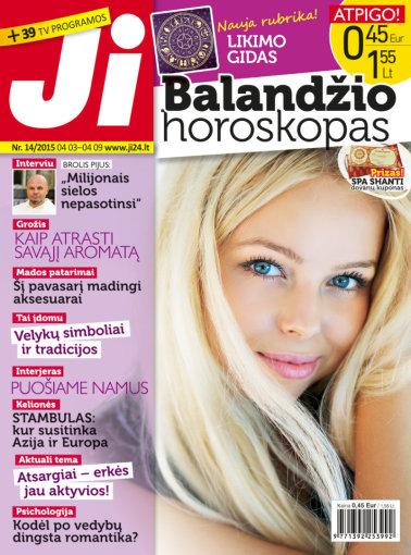 """Archyvo nuotr./ Žurnalo """"Ji"""" balandžio mėnesio viršelis (Nr. 14)"""