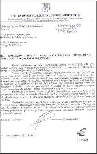 Kultūros ministerijos raštas