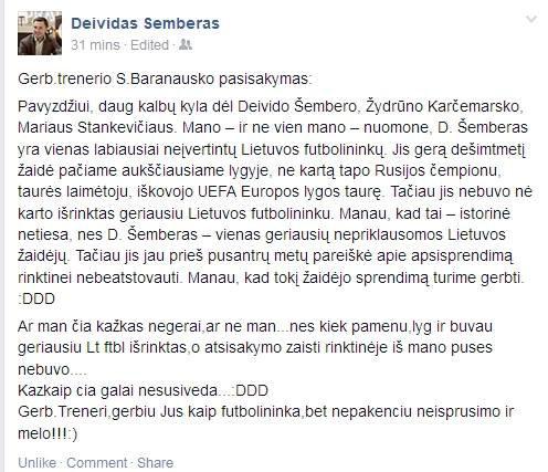 Deivido Šembero komentaras