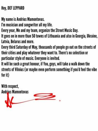 """Andriaus Mamontovo laiškas grupei """"Def Leppard"""""""