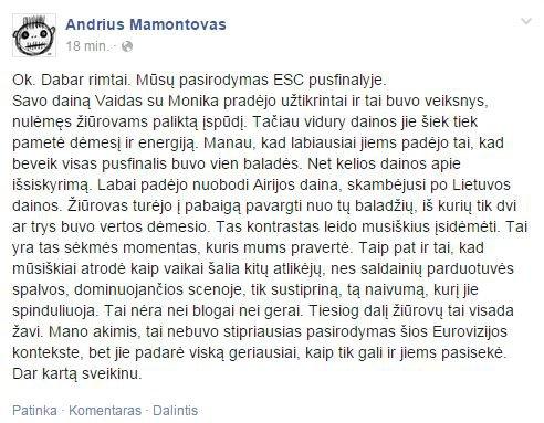 Andriaus Mamontovo įrašas feisbuke