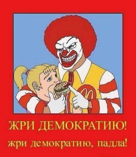 """S.Galickio feisbuko iliustracija/""""Ryk demokratiją, padla!"""""""