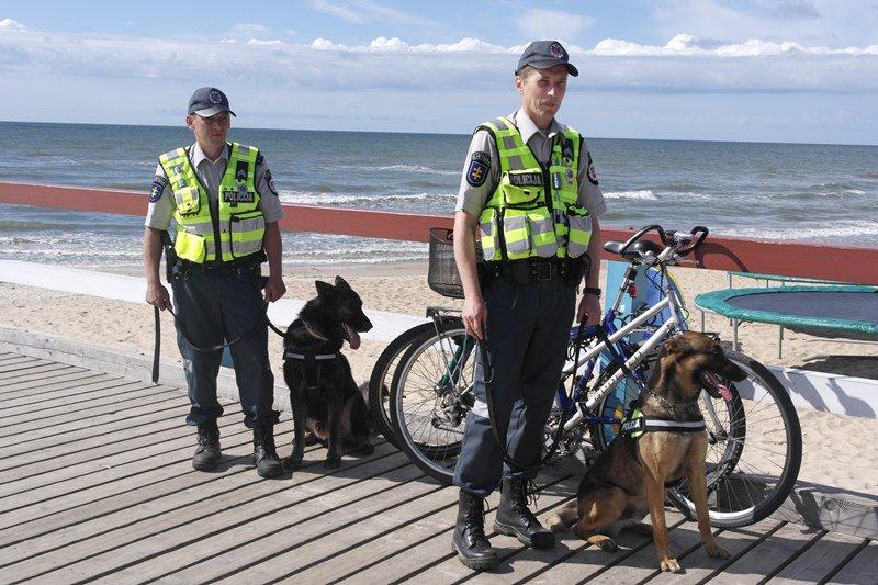 Palangoje su keturkojais pagalbininkais patruliuojantys pareigūnai