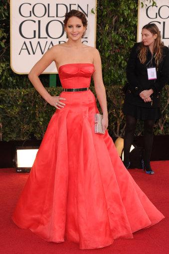 """Vida Press nuotr./Jennifer Lawrence 2013 m """"Auksinių gaublių"""" apdovanojimuose"""