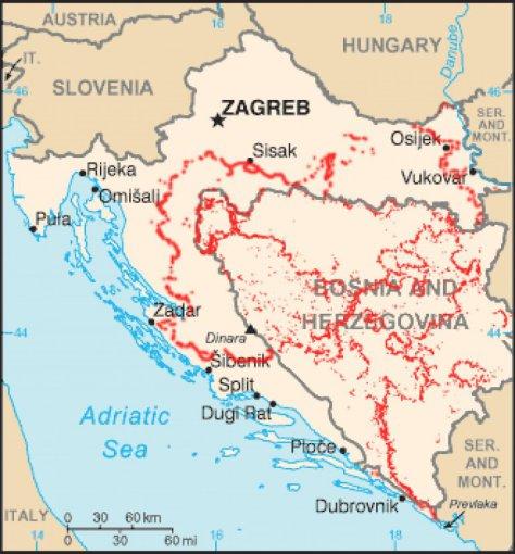 """""""Wikimedia"""" nuotr. /Apytiksliai nurodytos vietos, kur Kroatijoje galimai yra minų laukai (2006 m.)."""