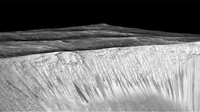 Žymės iš kurių galima spręsti, kad Marse yra vandens