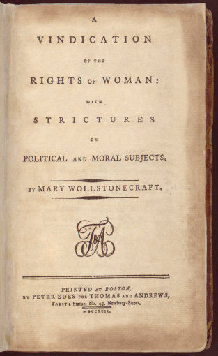 "Wikimedia.org nuotr./""A Vindication of the Rights of Woman"""