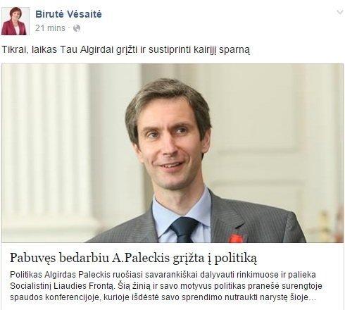 Facebook nuotr./Birutės vėsaitės įrašas feisbuke
