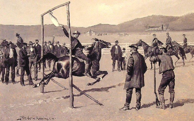 """Žąsies tempimas"" XIX a. JAV (dail. Frederic Remington)"