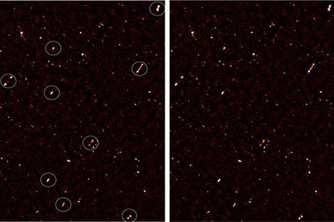 Aptiktos 65 čiurkšlės, kurių kryptys beveik tiksliai sutampa tarpusavyje