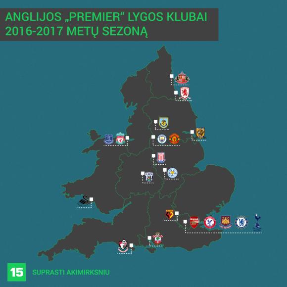 """Anglijos """"Premier"""" lygos klubai 2015-2016 metų sezoną"""