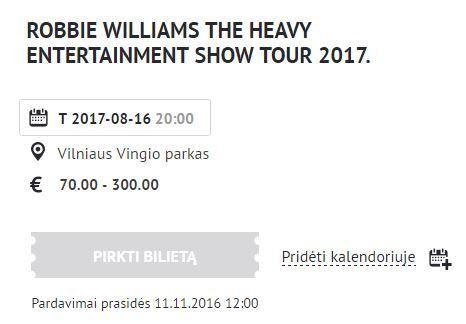 Lietuvoje vėl koncertuos Robbie Williamsas