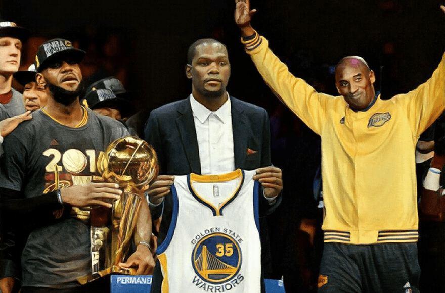 LeBronas Jamesas, Kevinas Durantas ir Kobe Bryantas