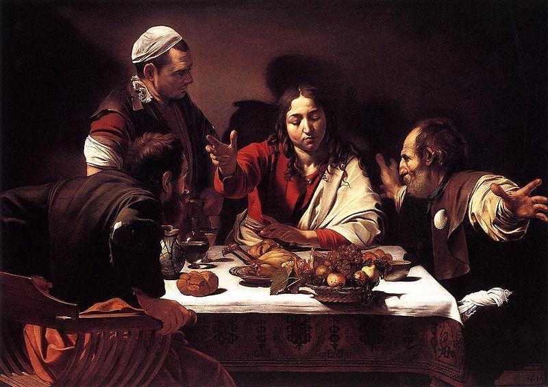 Caravaggio paveikslas, vaizduojantis Jėzų su mokiniais Emause