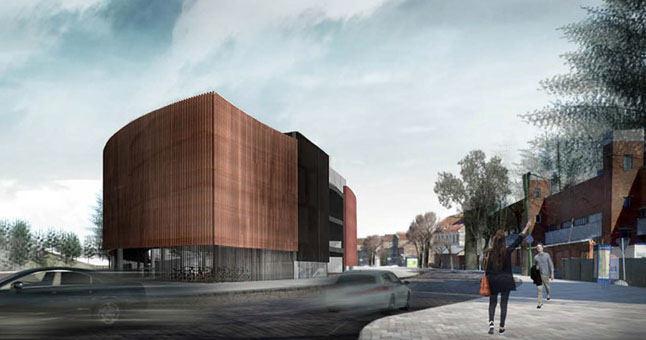 """Planuojamo garažo prie """"Kultūros fabriko"""" Klaipėdoje projekto vizualizacija"""