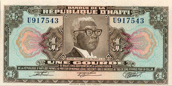 François Duvalier ant vieno gurdo banknoto (1979 m.)