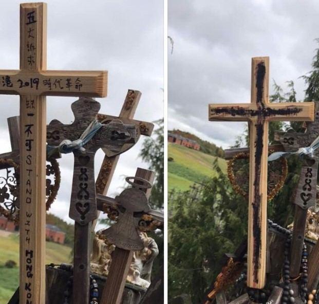 """""""Twitter"""" nuotr./Ant Kryžių kalno išniekinti Honkongą remiantys kryžiai"""