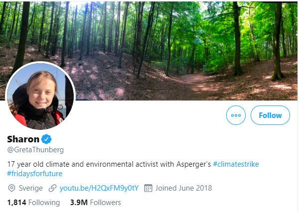 Greta Thunberg tviteryje pasikeitė vardą