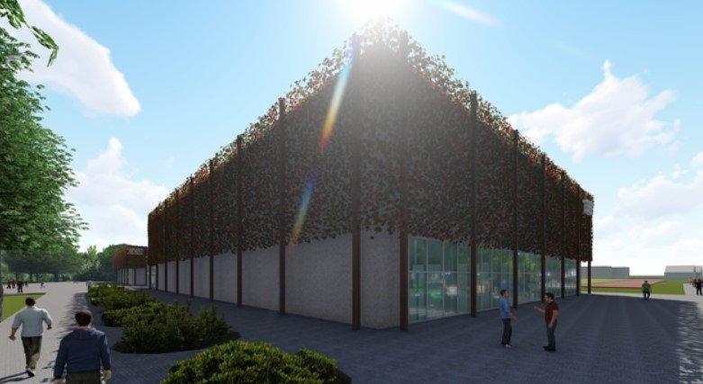 Klaipėdos rajone, Gargžduose, planuojamos statyti sporto arenos vizualizacija.