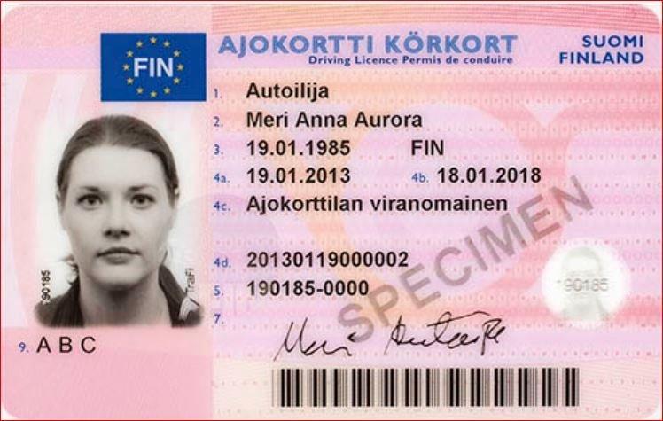 Asociatyvioje iliustracijoje – Suomijos vairuotojo pažymėjimo pavyzdys.