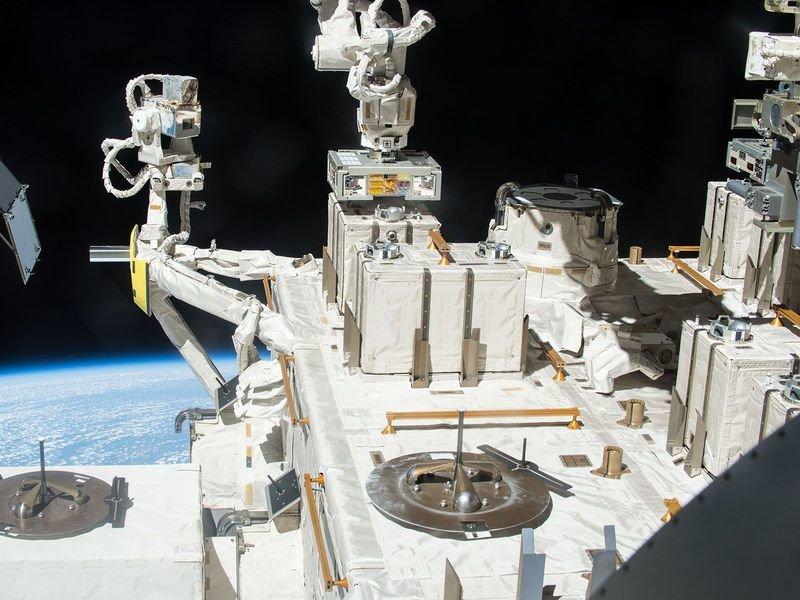 Robotizuota Tarptautinės kosminės stoties ranka įtaisė tris kameras su bakterijomis TKS išorėje