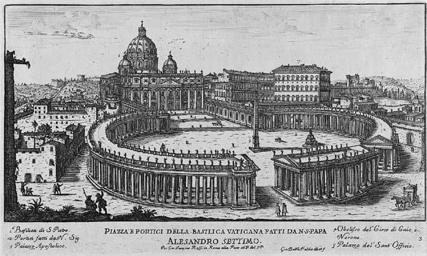 Gian Lorenzo Berninio suprojektuota uždara šv. Petro aikštė (Giovanni Battista Falda, Il nuovo teatro delle fabriche, Romae G.Giacomo Rossi, 1665)