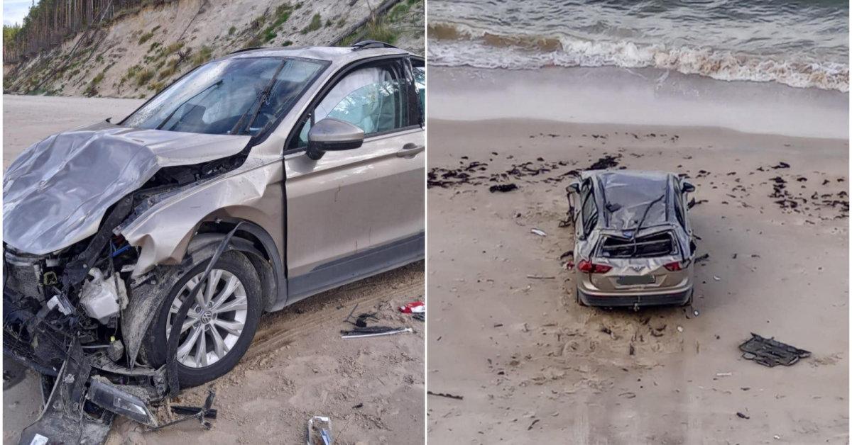 Jūrkalnės paplūdimyje rastas sumaitotas automobilis ir jo negyvas vairuotojas