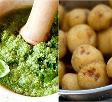 Žalioji bulvių ir šparaginių pupelių mišrainė su pesto padažu