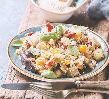 Kynvos košė su keptais pomidorais, feta ir žolelių aliejumi