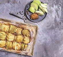 Greitai pagaminama sluoksniuotos tešlos tartaletė su obuoliais