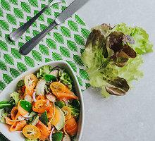 Šviežių daržovių salotos su lašiša