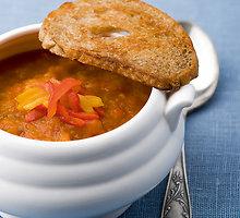 Keptų paprikų ir baklažanų sriuba