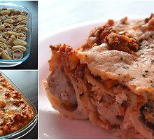 Mėsa kimštų makaronų ir daržovių apkepėlė