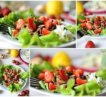 Salotos su pievagrybiais, vištiena ir braškėmis