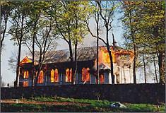 Panevėžio vyskupijos nuotr./Pakalnių bažnyčios gaisras