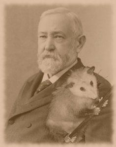 Presidential Pet Museum nuotr./Prezidentas Benjaminas Harrisonas su oposumu