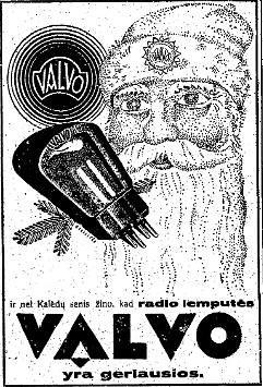 """epaveldas.lt nuotr. /""""Valvo"""" radijo lempučių reklama """"Lietuvos aide"""""""
