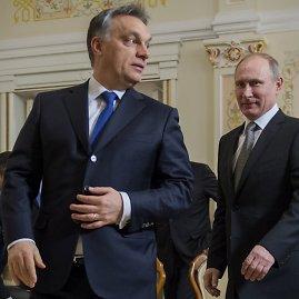"""""""Scanpix""""/AP nuotr./Viktoras Orbanas ir Vladimiras Putinas"""