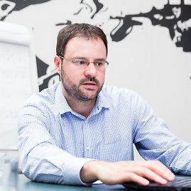 """Luko Balandžio / 15min nuotr./""""RB Rail"""" verslo plėtros vadovas Kasparas Briškenis"""
