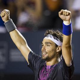 """""""Scanpix""""/AP nuotr./Fabio Fogninis pirmą kartą karjeroje nugalėjo Rafaelį Nadalį"""