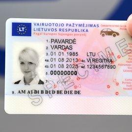 Regitros nuotr./Naujo pavyzdžio vairuotojo pažymėjimas