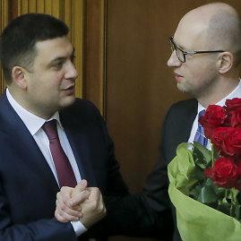 """Scanpix""/AP nuotr./Volodymiras Hroismanas ir Arsenijus Jaceniukas"