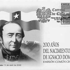 Wikimedia Commons iliustr./Čilės pašto ženklas, skirtas Igno Domeikos 200 metų jubiliejui