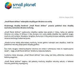 """""""Small Planet Airlines"""" pranešimas"""