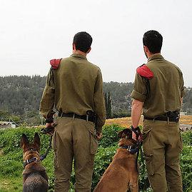 """commons.wikimedia.org/Israel Defense Forces nuotr./Du broliai kariai iš padalinio """"Oketz"""" su savo šunimis"""