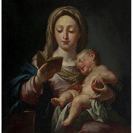 """M.K.Čiurlionio dailės muziejaus nuotr./Kun. R.Mikutavičiaus kolekcijos paveikslas: Domenico Morelli """"Madona su kūdikiu ir knyga"""""""