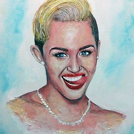 """""""Caters News Agency"""" / """"Scanpix"""" nuotr./Menininko Cristiamo Ramoso kūrinys – Miley Cyrus portretas"""