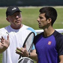"""""""Scanpix"""" nuotr./Borisas Beckeris ir Novakas Džokovičius"""