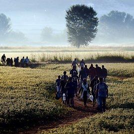 """AFP/""""Scanpix"""" nuotr./Migrantai kerta Graikijos sieną su Makedonija"""